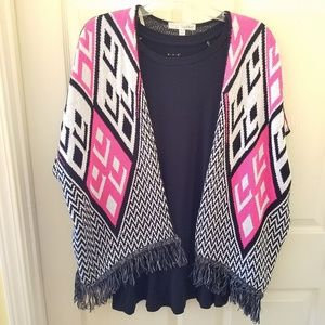 Say What? Hot pink, black, and white shrug OSFM